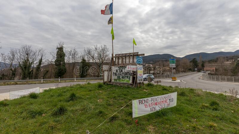 Occupation of a roundabout by the yellow jackets, demonstrations France stock images