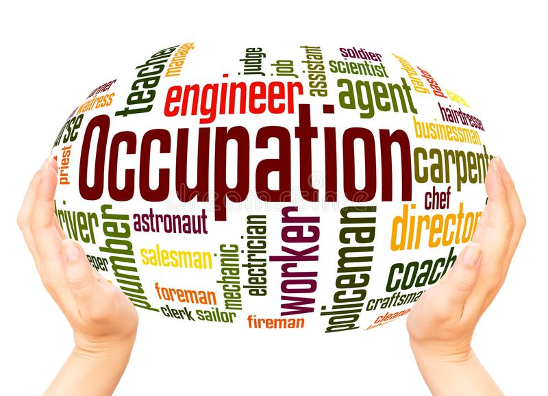 Occupation word cloud hand sphere concept. Professions, Different jobs, Career Selection, Occupation word cloud hand sphere concept on white background royalty free stock images