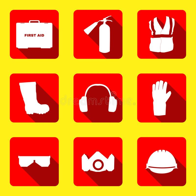 Occupational Safety and Health icons and signs set. Occupational Safety and Health vector icons and signs set. Protective helmet goggles, footwear, and stock illustration