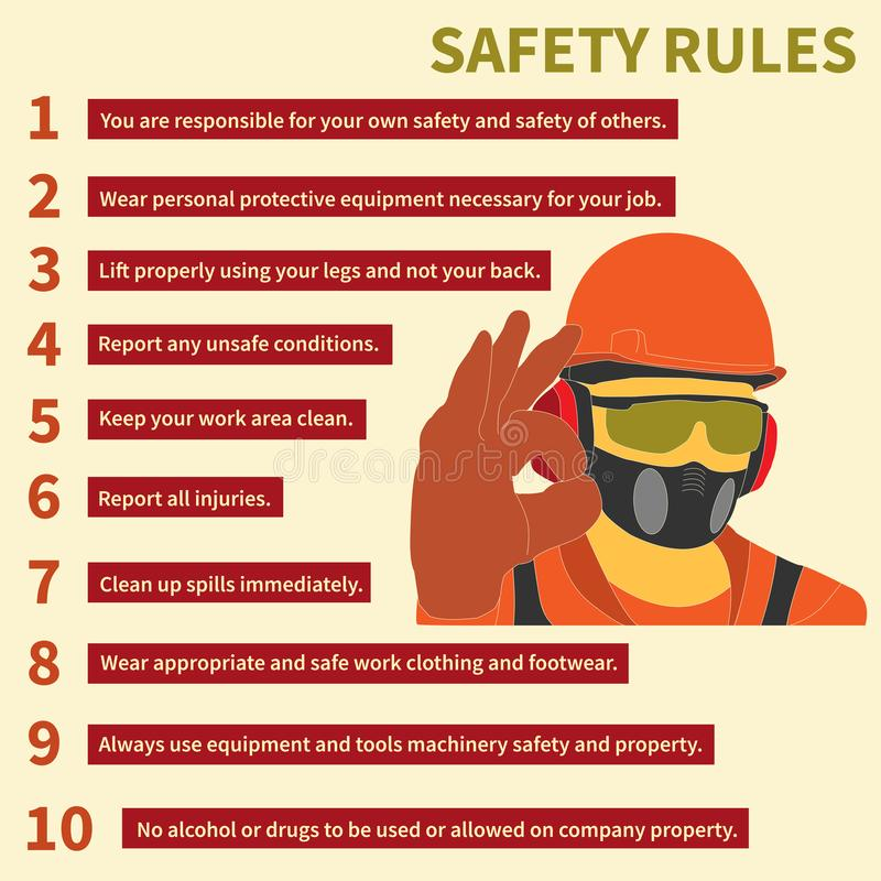 Occupational Safety and Health icons and signs set stock photos