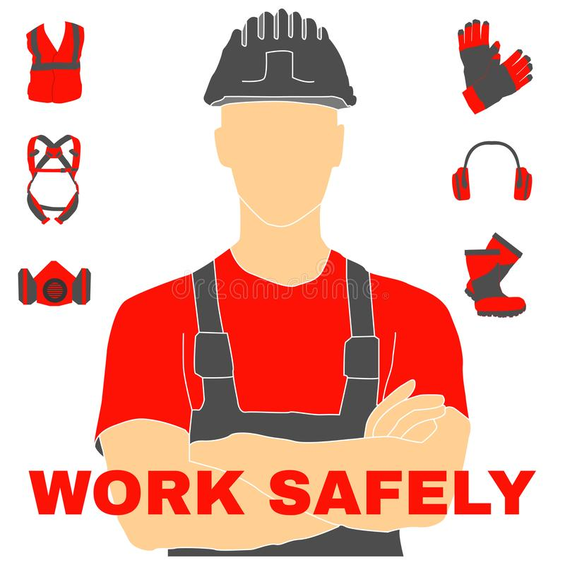 Occupational Safety and Health icons and signs set. Occupational Safety and Health vector icons and signs set. Protective helmet goggles, footwear, and royalty free illustration