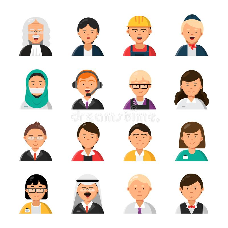 Occupations avatars. Waiter stewardess judge advocate manager builder male and female profession vector icons. Illustration of people worker professional stock illustration