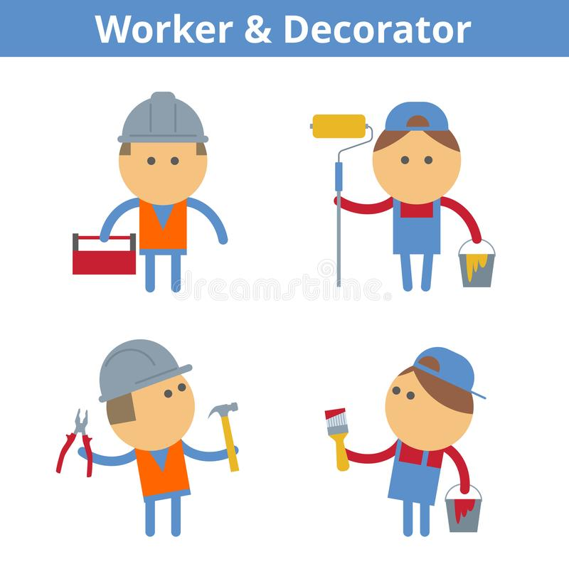 Occupations cartoon character set: worker and decorator. Vector vector illustration