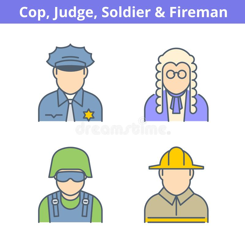 Occupations colorful avatar set: judge, policeman, fireman, sold. Ier. Flat line professions userpic collection. Vector thin outline icons for profiles, web stock illustration