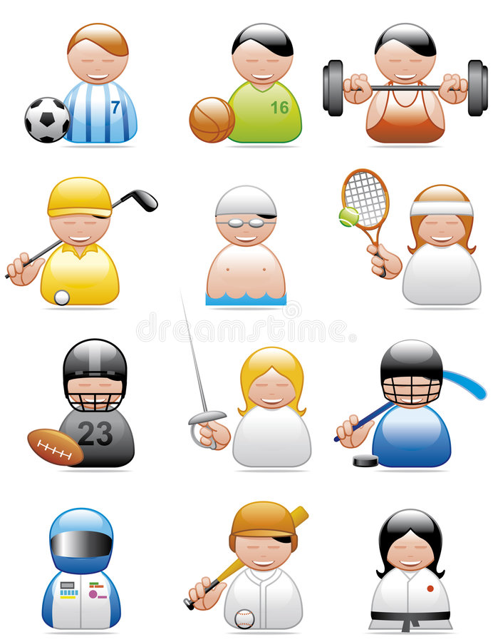 Occupations icons (sports) vector illustration