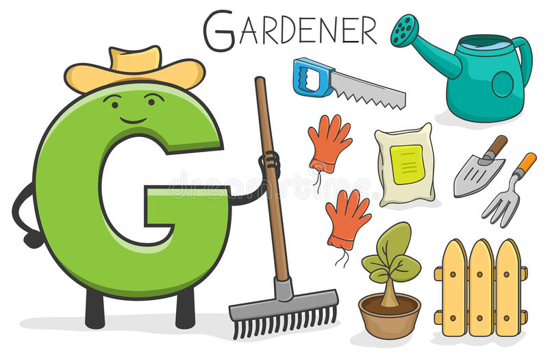 Occupazione di Alphabeth - lettera G - giardiniere royalty illustrazione gratis