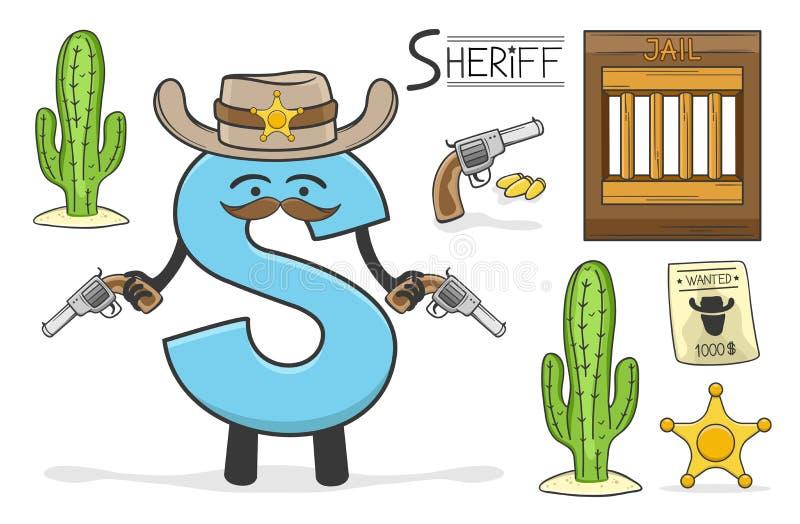Occupazione di Alphabeth - lettera S - sceriffo illustrazione di stock