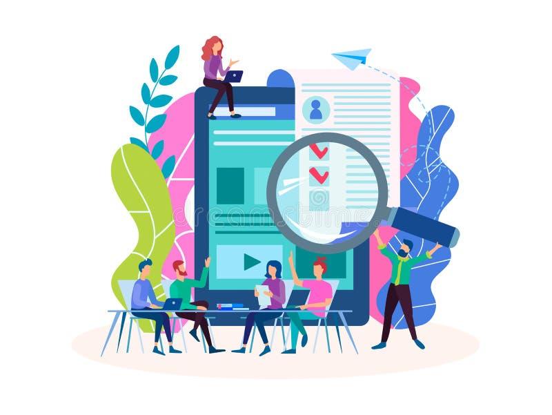 Occupazione, interrogante, intervista, materiale da otturazione online della forma, occupazione illustrazione di stock