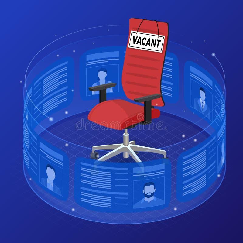Occupazione isometrica dell'agenzia di lavoro e concetto di noleggio illustrazione vettoriale