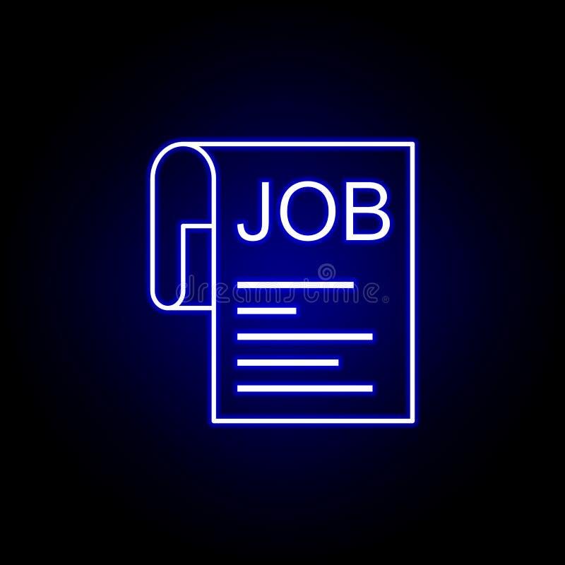 Occupazione, lavoro, icona della carta Elementi dell'illustrazione delle risorse umane nell'icona al neon di stile I segni ed i s royalty illustrazione gratis
