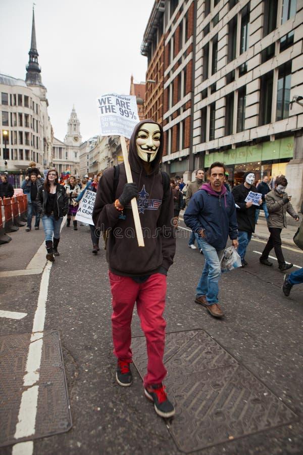 Occupez l'échange courant mars de Londres photographie stock