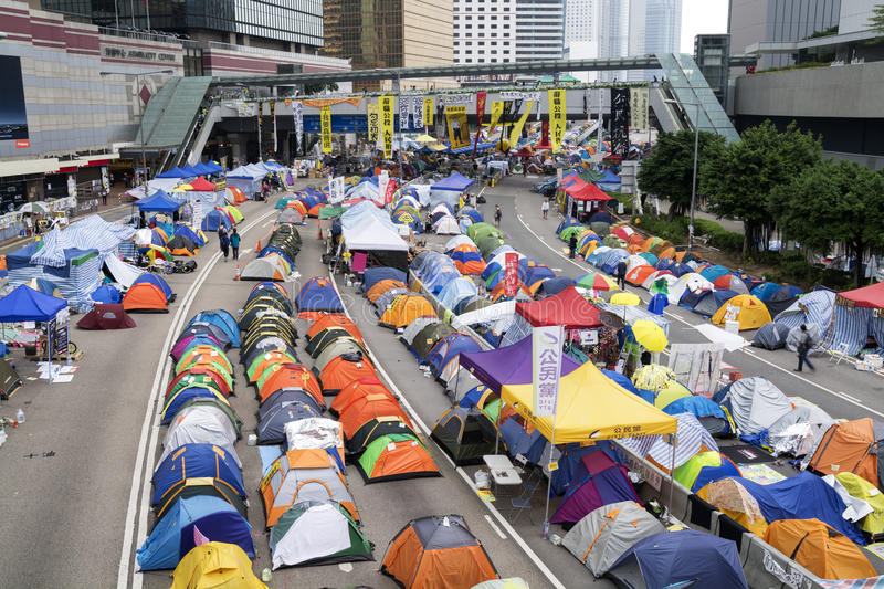 Occupez le mouvement central, Hong Kong images stock