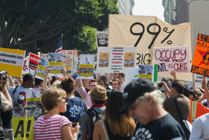 Occupi i dimostranti marzo della LA a Los Angeles fotografia stock libera da diritti