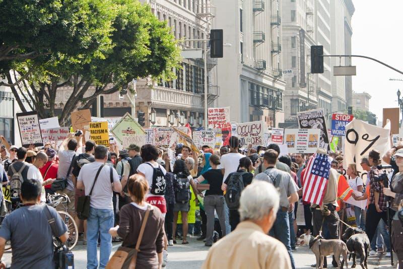Occupi i dimostranti marzo della LA a Los Angeles fotografie stock libere da diritti