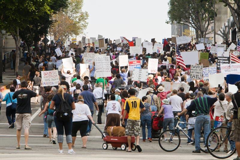 Occupi i dimostranti marzo della LA a Los Angeles immagine stock libera da diritti