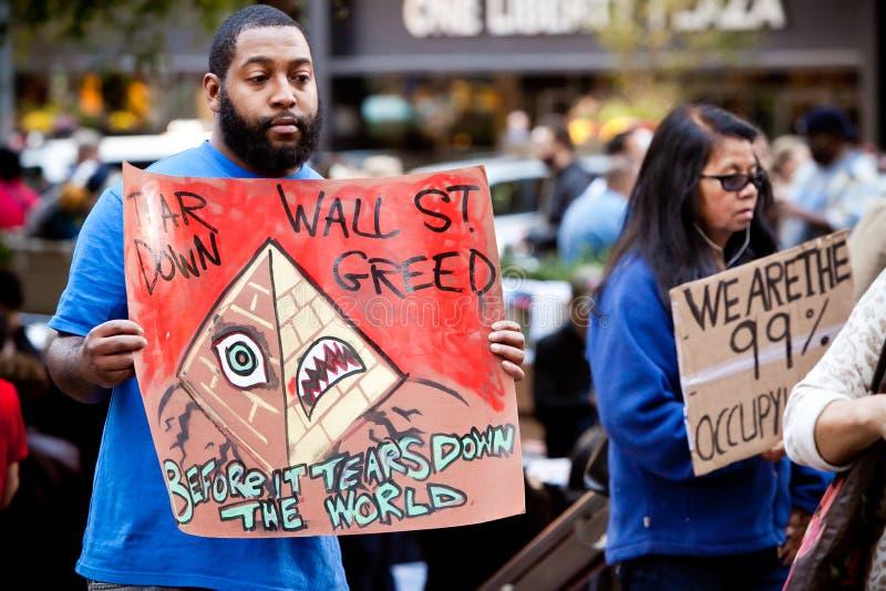 Occupi il dimostrante del Wall Street fotografie stock libere da diritti