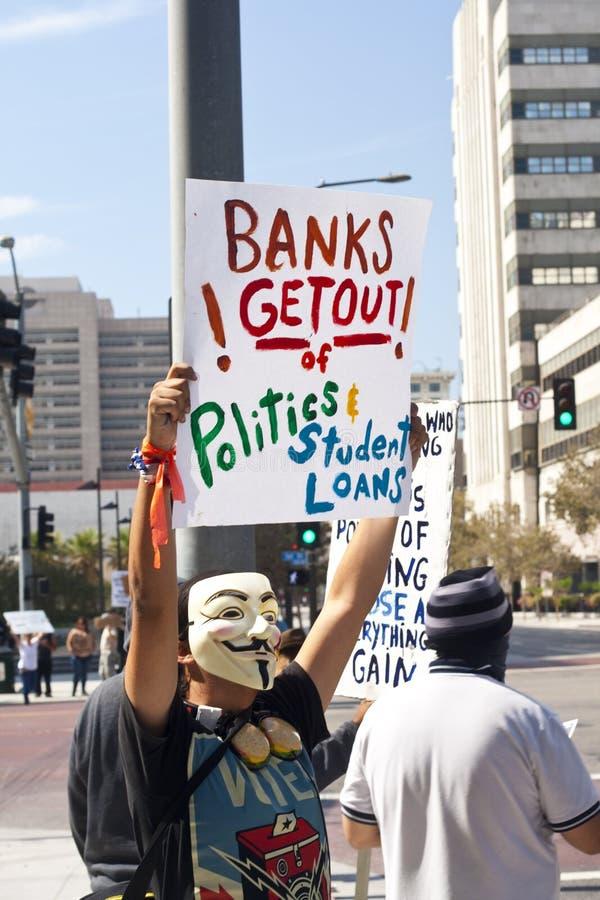 Occupi la protesta della LA del Wall Street a Los Angeles immagine stock