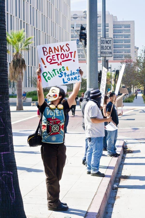Occupi la protesta della LA del Wall Street a Los Angeles fotografia stock