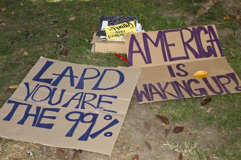 Occupi la protesta della LA del Wall Street a Los Angeles fotografia stock libera da diritti