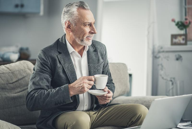 Occupied businessman having tea time at the office royalty free stock images