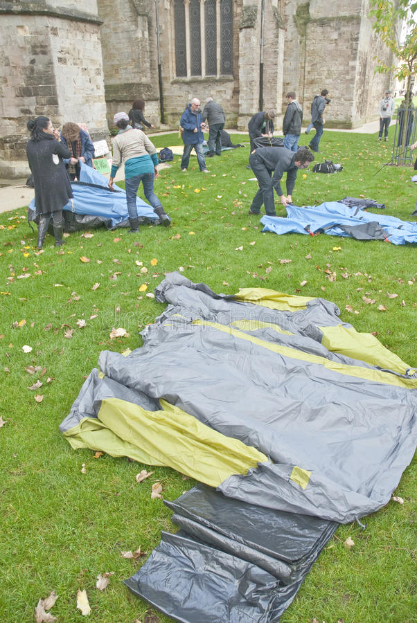 Occupy Exeter Participants Erect Their Tents Editorial Image