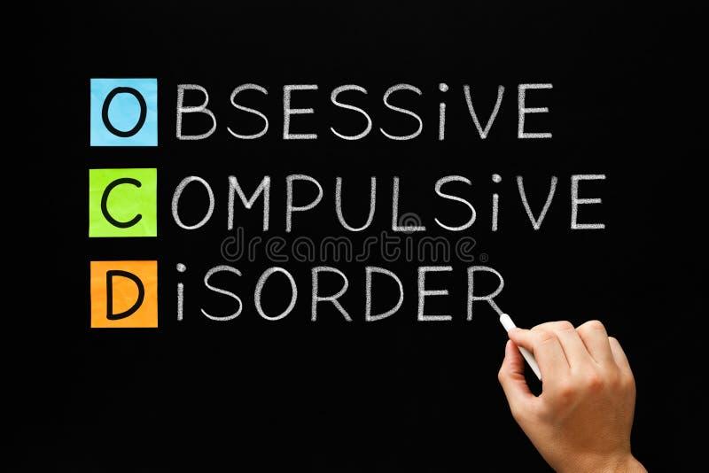 OCD - Tvångsmässig tvångsmässig oordning på svart tavla royaltyfri bild