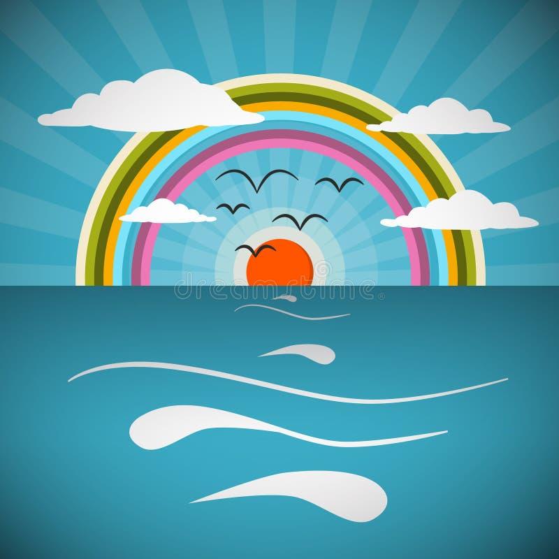Oceaan Abstracte Retro Vectorillustratie stock illustratie