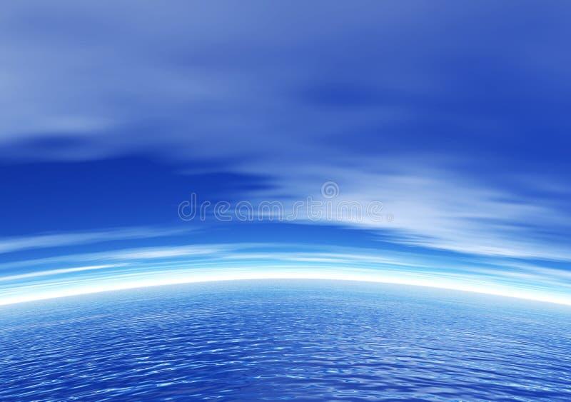 Oceaan en blauwe hemel vector illustratie
