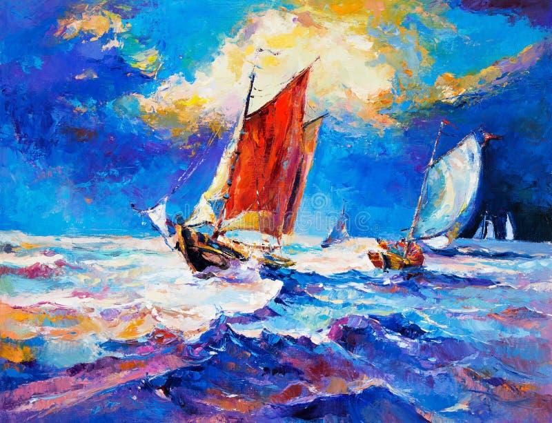 Oceaan en boten royalty-vrije illustratie