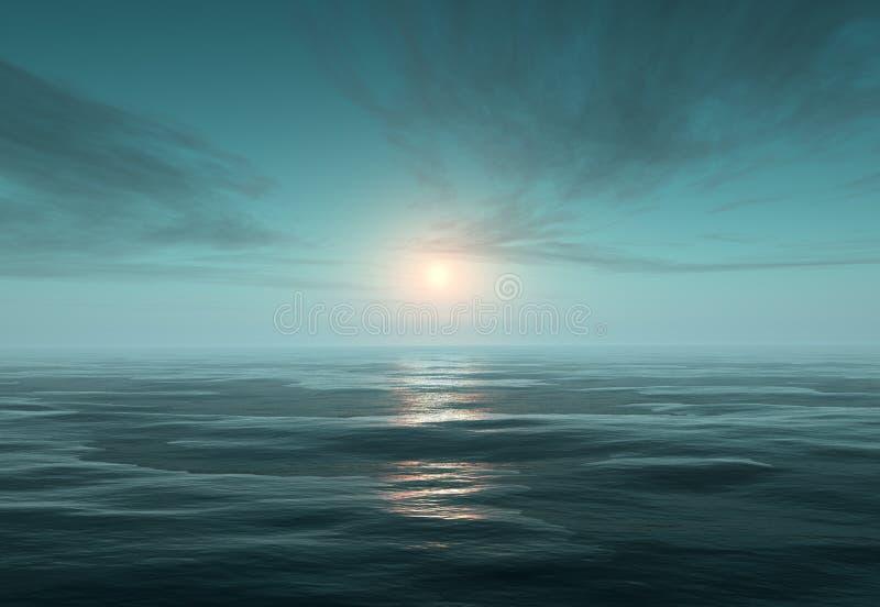 Oceaan en ijs bij nacht stock illustratie