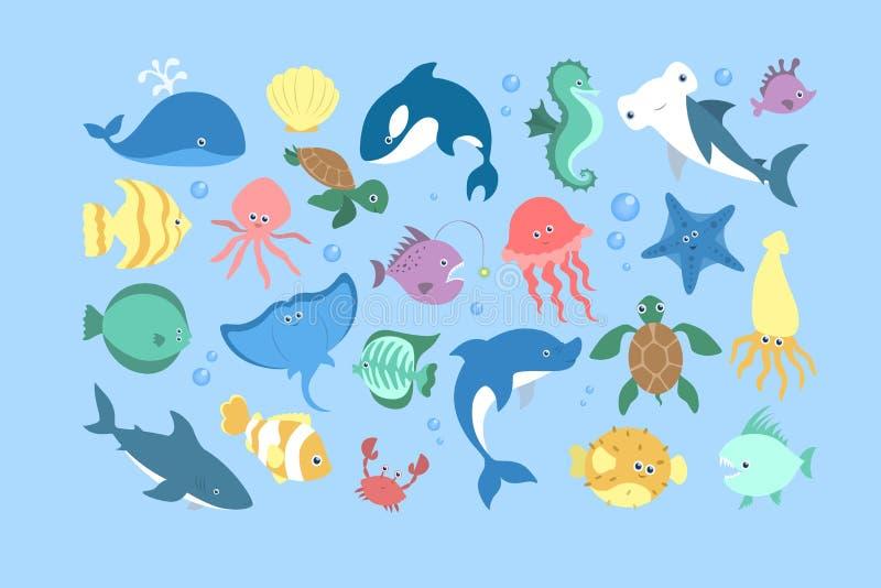 Oceaan en overzeese dierlijke reeks Inzameling van aquatisch schepsel royalty-vrije illustratie