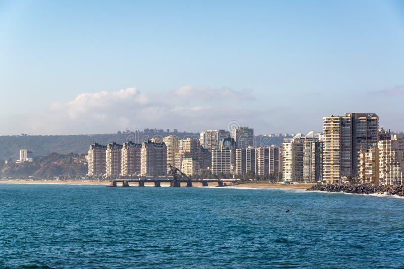 Oceaan en Vina del Mar stock afbeelding