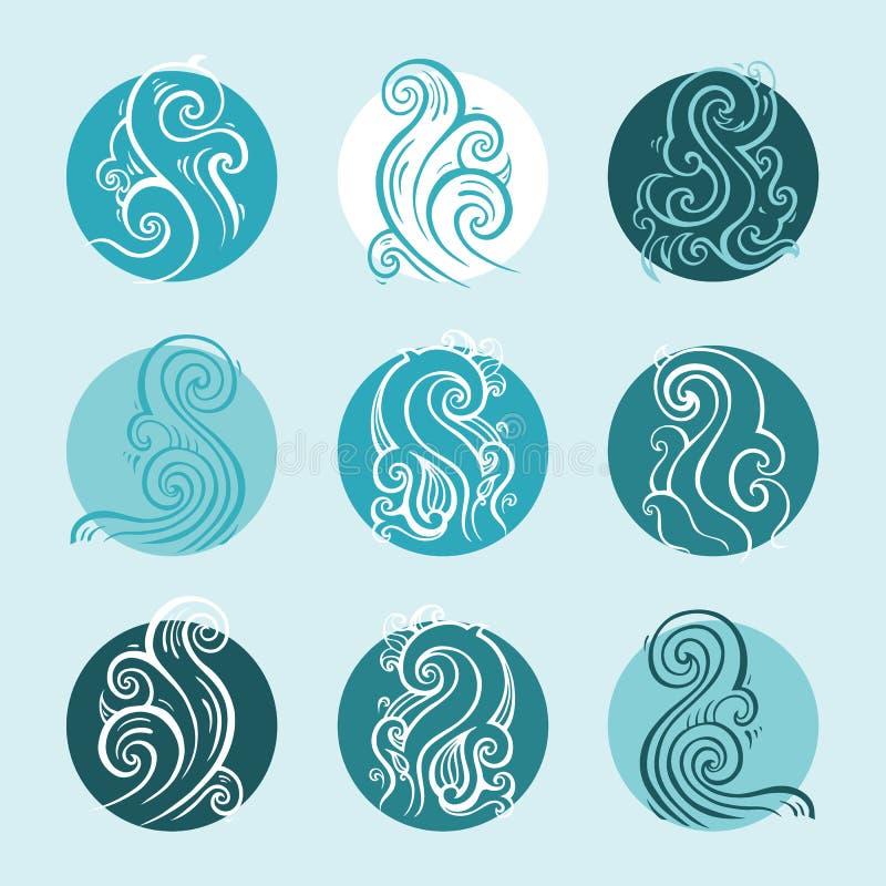 Oceaan geplaatste golven, Hand getrokken illustratie royalty-vrije illustratie
