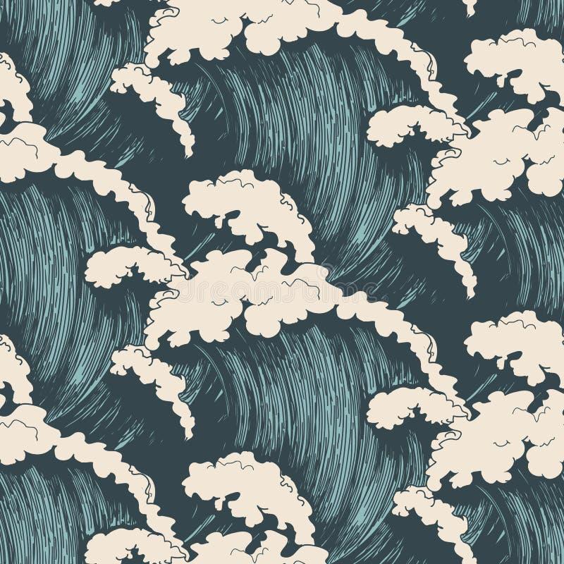 Oceaan golven naadloos patroon stock illustratie