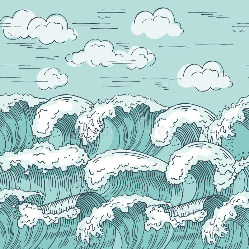 Oceaan golven naadloos patroon Hand getrokken vectorillustratiesachtergrond stock illustratie