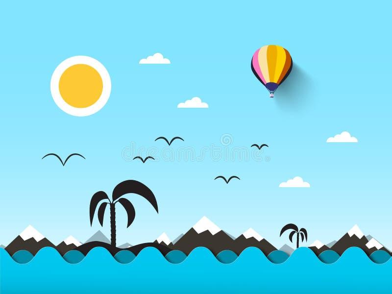 Oceaan landschap Overzees met golven en blauwe hemel vector illustratie