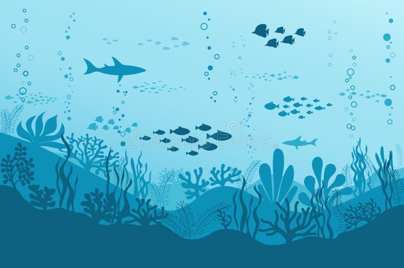 Oceaan Onderwaterachtergrond met Vissen, Overzeese installaties en Ertsaders Vector stock illustratie