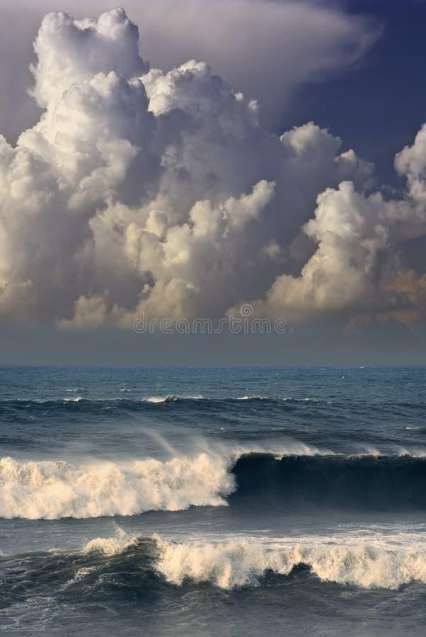 Oceaan onweer stock fotografie