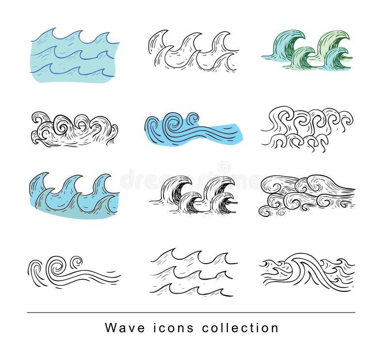 Oceaan of overzeese golven Vector illustratie royalty-vrije illustratie