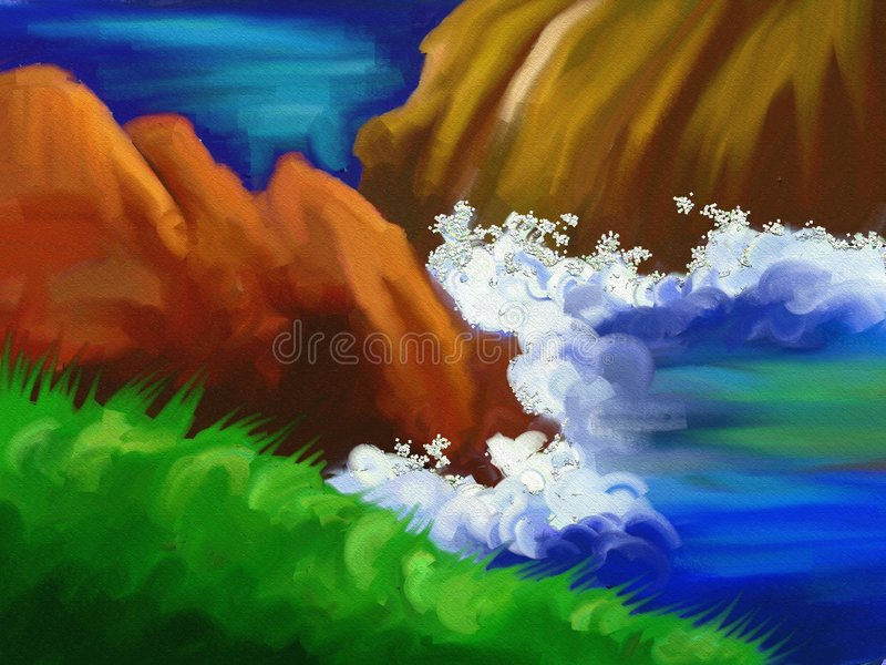 Oceaan rotsen stock illustratie