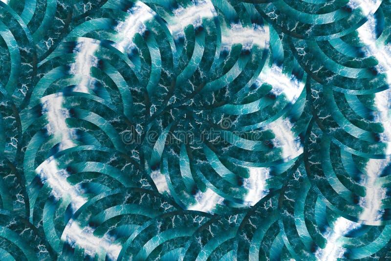 Oceaan van de overzeese diplacement golvencirkel Spiraalvormig patroon Het geometrische ontwerp van de hipstercollage vector illustratie