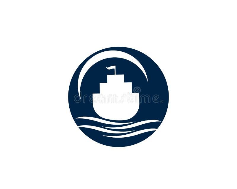 Oceaan van het het schipsilhouet van de cruisevoering eenvoudige lineaire het embleemvector stock illustratie