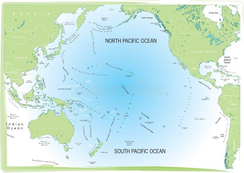 Oceaan Vreedzame kaart. stock illustratie