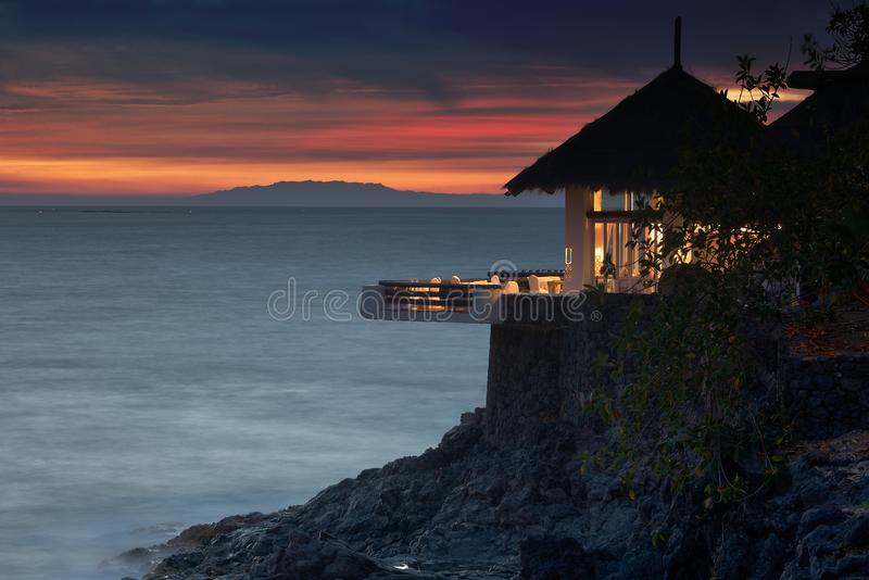 Oceaan zijrestaurant royalty-vrije stock afbeeldingen