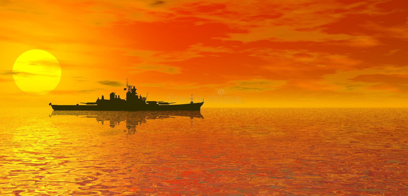 Oceaan zonsondergang en slagschip royalty-vrije illustratie