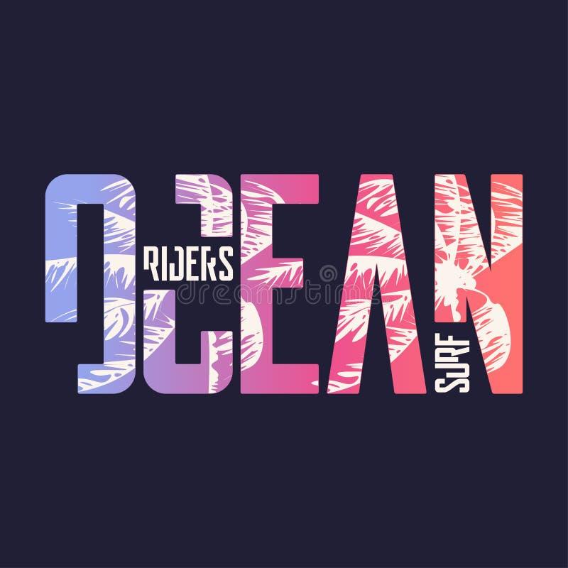Oceaanbrandingsruiters Grafisch t-shirtontwerp, typografie, druk Vector illustratie stock illustratie