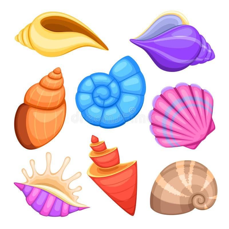 Oceaancockleshells Beeldverhaal overzeese shells vectorinzameling vector illustratie