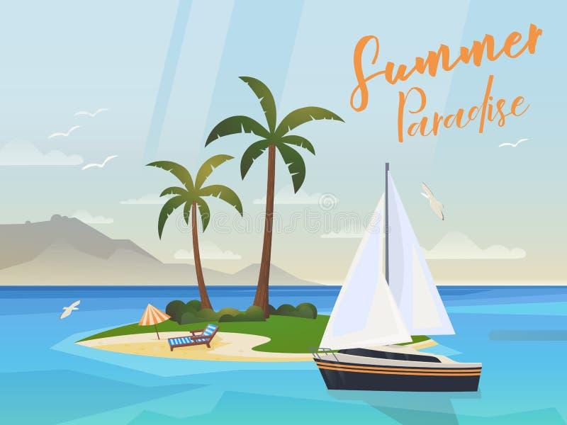Oceaaneiland met palmen en jacht of schip vector illustratie
