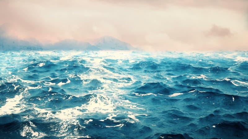 Oceaangolven met bergen op de achtergrond stock foto's
