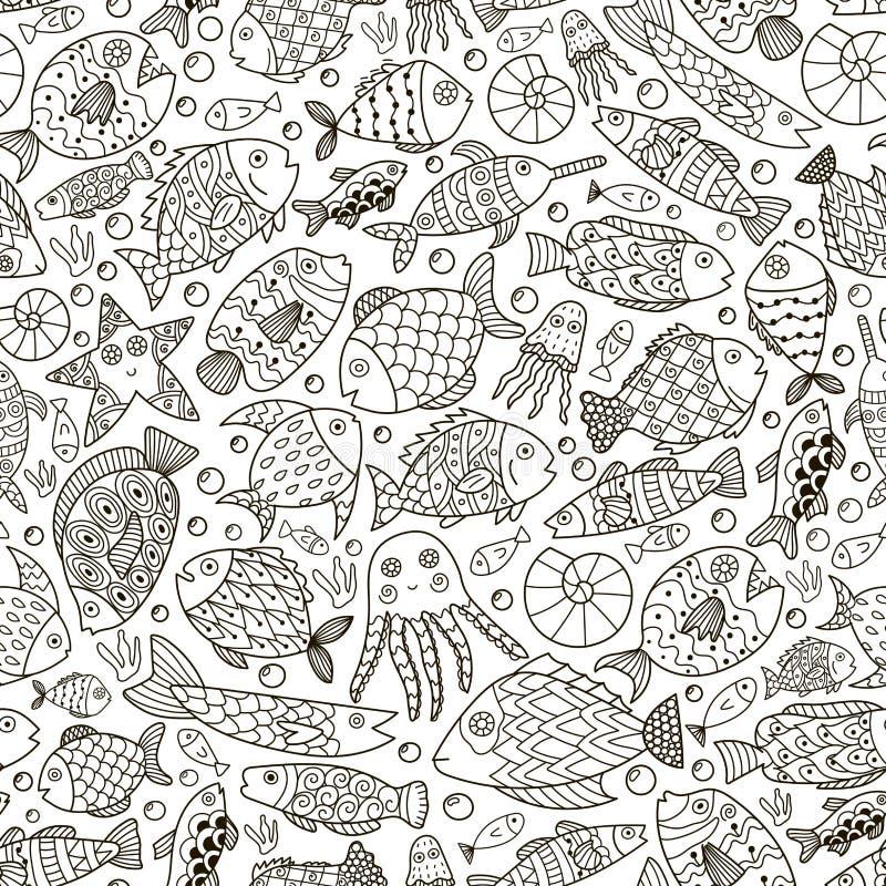 Oceaaninzameling met krabbelvissen voor het kleuren van boek stock illustratie